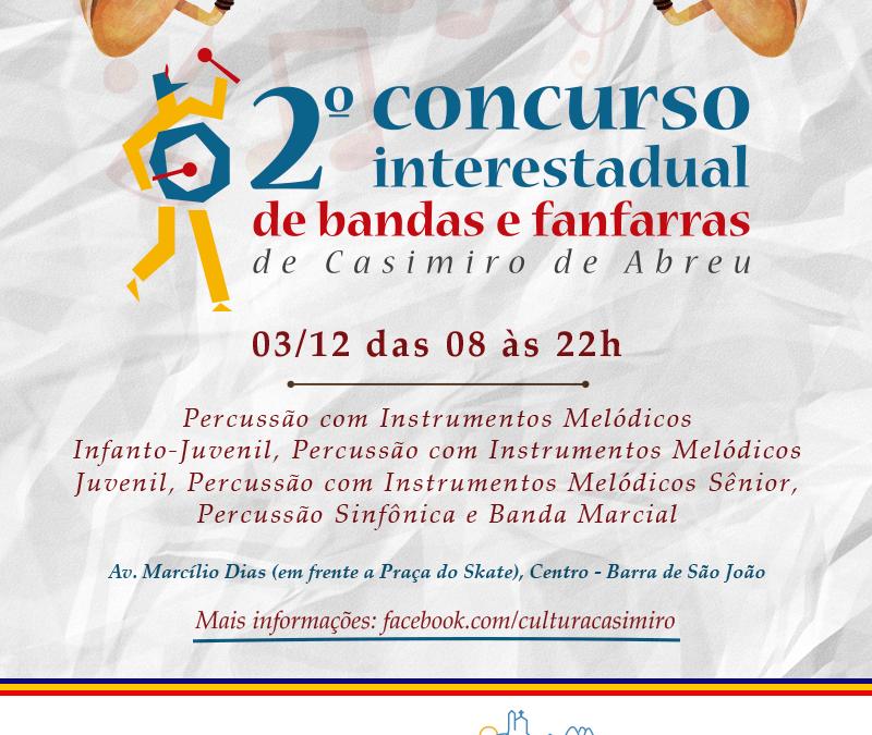 Casimiro de Abreu sedia, em dezembro, II Concurso Interestadual de Bandas e Fanfarras