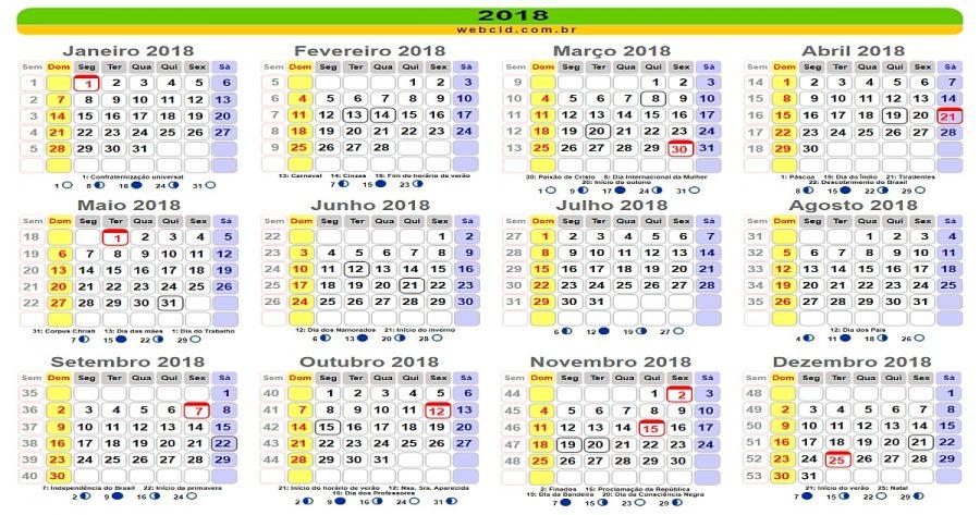 2018 terá nove feriados nacionais e cinco pontos facultativos